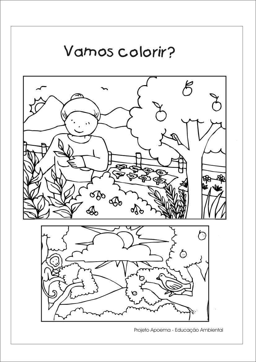 atividades alfabetizacao jardim horta pomar:Desenhos de Paisagens e Meio Ambiente para Colorir – @ Desenhos Para