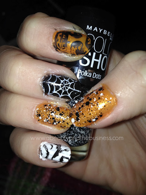 Holiday nails, holiday nails halloween edition, halloween nails, halloween nail art, halloween skittle nails, skittle nails, nail art, manicure, trelly polish, trelly, trelly witches in the sky, pumplin nail art, glitter polish.