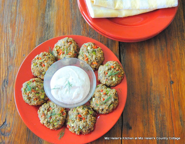 Baked Salmon Cakes with Dill Yogurt Sauce at Miz Helen's Country Cottage