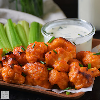 Baked Buffalo Cauliflower Bites | by Life Tastes Good