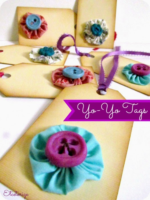 yo-yo's, fabric yo-yo's, DIY tags, polymer clay buttons