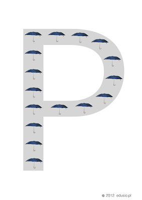 litery do wydrukowania-p-parasolki