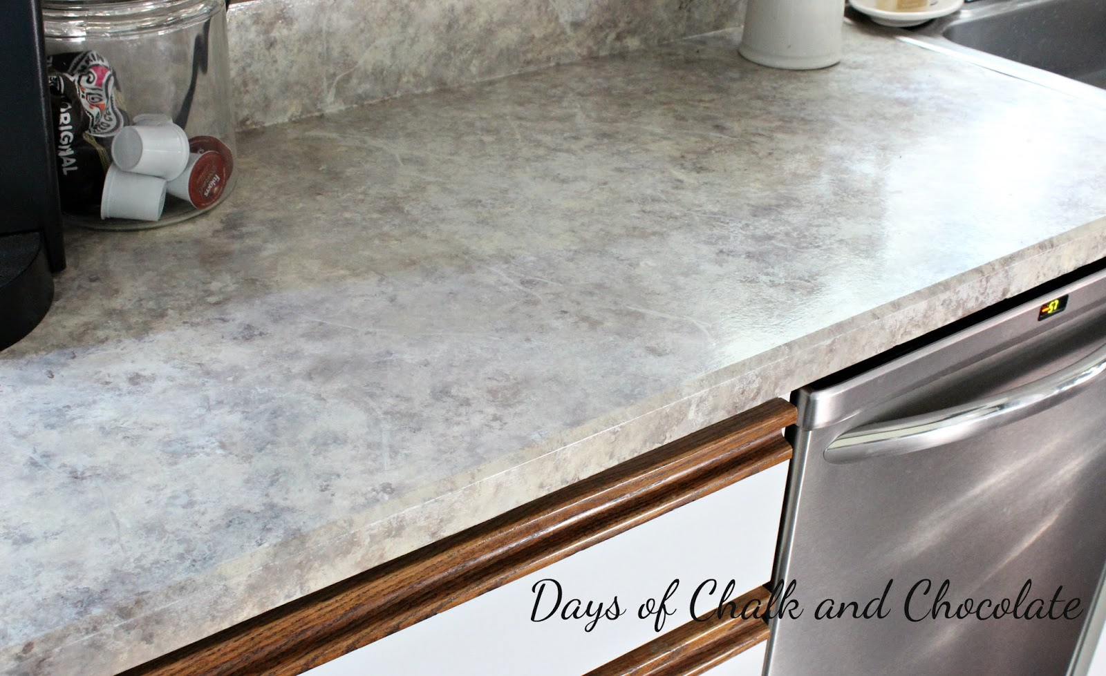 Painting kitchen countertops to look like granite - Awesome Painted Faux Stone Countertops Days Of Chalk And Chocolate With Painting Countertops To Look Like Granite