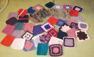 crocheted squares, knitted slippers