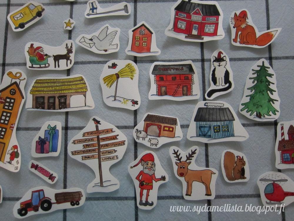 lasten joulukalenteri 2018 Sydämellistä: Luukku 1   Maalattu joulukalenteri lapsille lasten joulukalenteri 2018