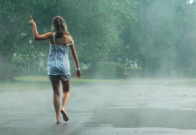 Girl rain photo