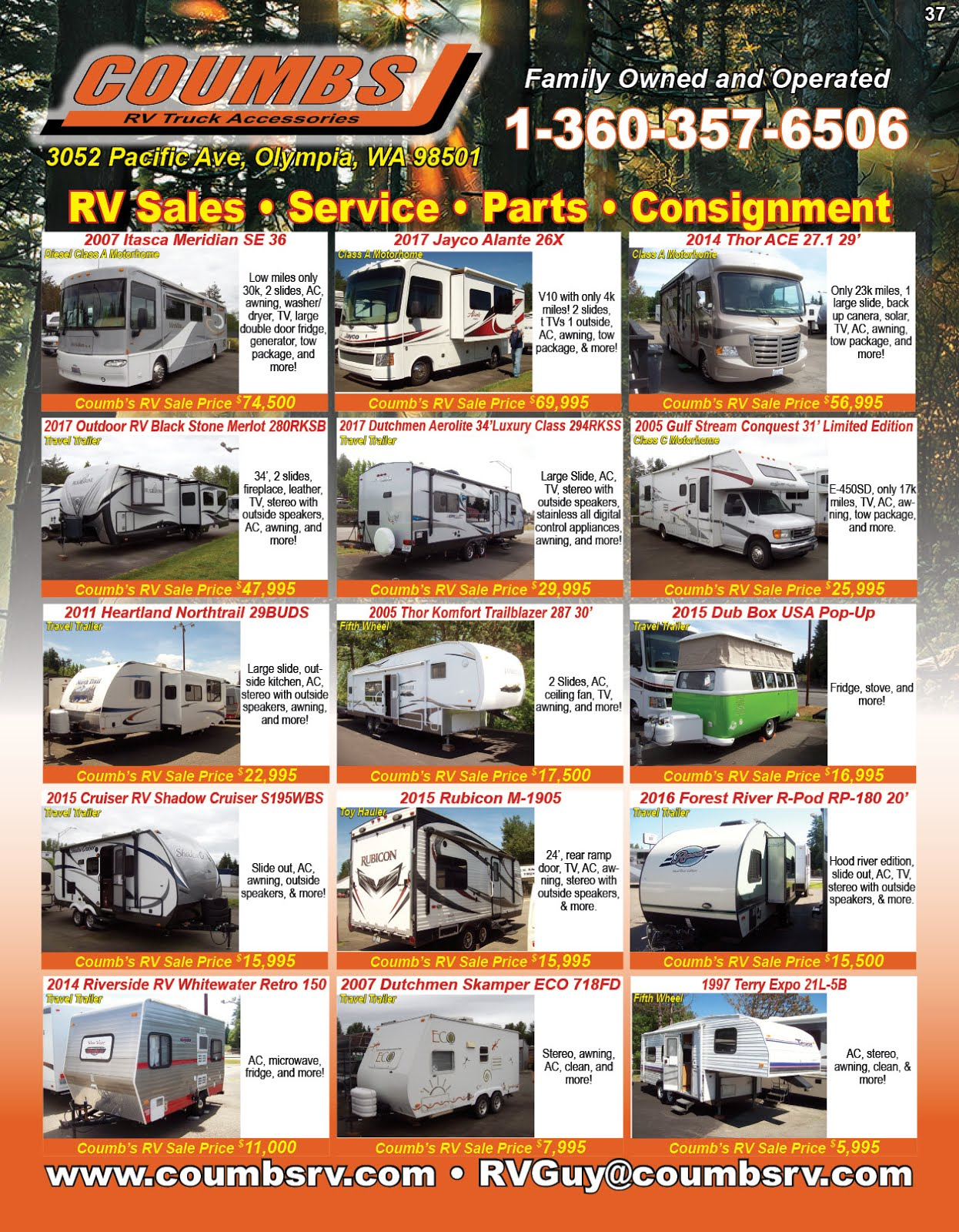 Coumbs RV Sales Service Parts & Consignments