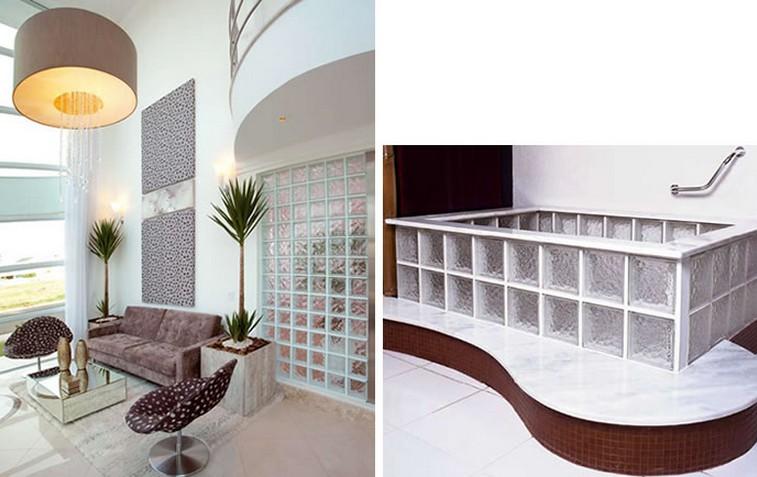 Meu Palácio de 64m² Decorações com tijolo ou bloco de vidro -> Pia De Banheiro Feita Com Tijolo De Vidro