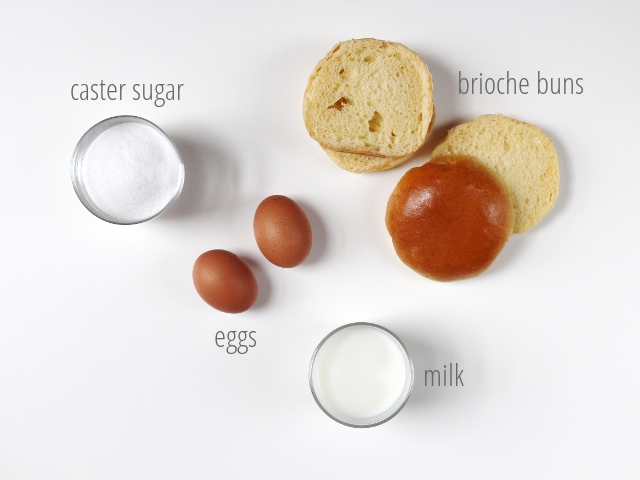 Ingredients for Sugar Dipped French Toast Doughnuts