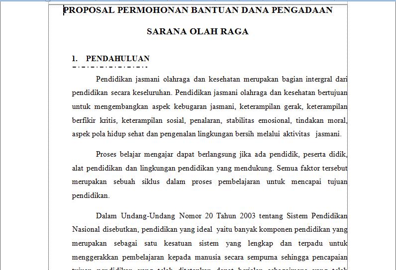... tentang contoh proposal permohonan bantuan sarana olahraga proposal