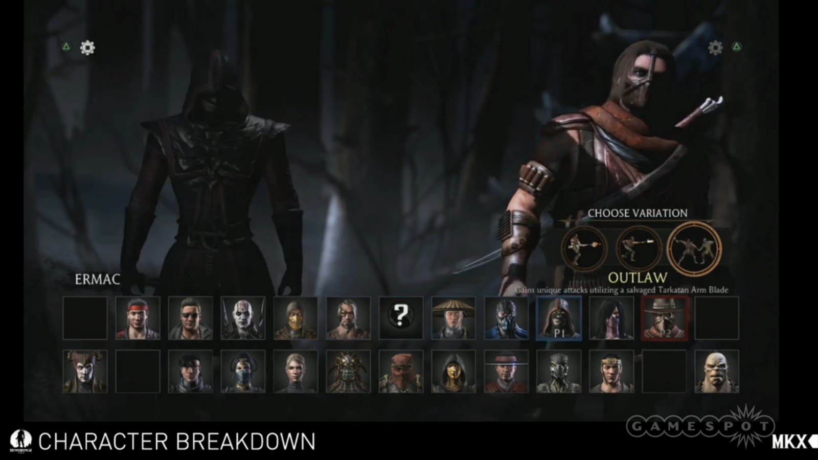Ecco il select screen per Mortal Kombat X