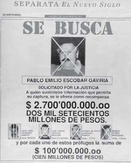 A wanted poster in Spanish for Pablo Escobar