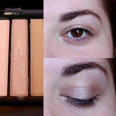 1ere étape du maquillage: pose du fard rose irisé de la palette Iconic 1