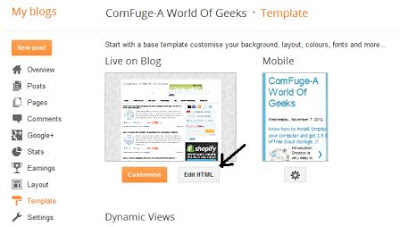 Open Template in Blogger