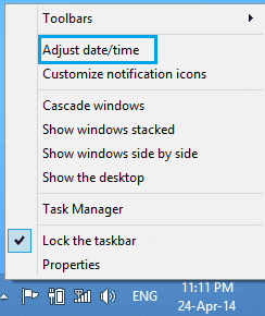 thay đổi ngày giờ trên Windows 8/8.1