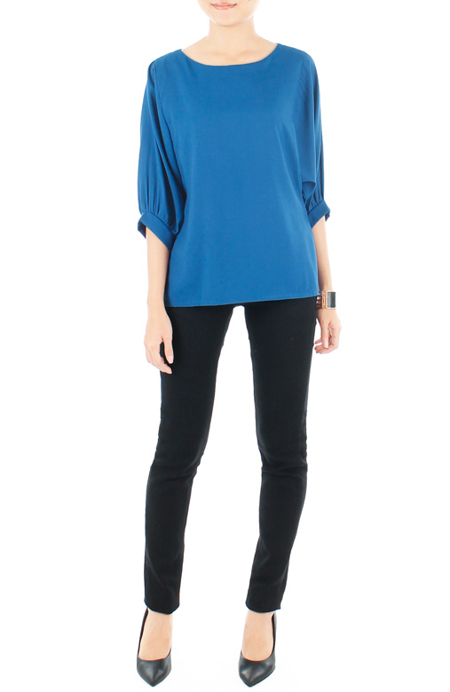 Dolman Back Button Blouse - Brilliant Blue