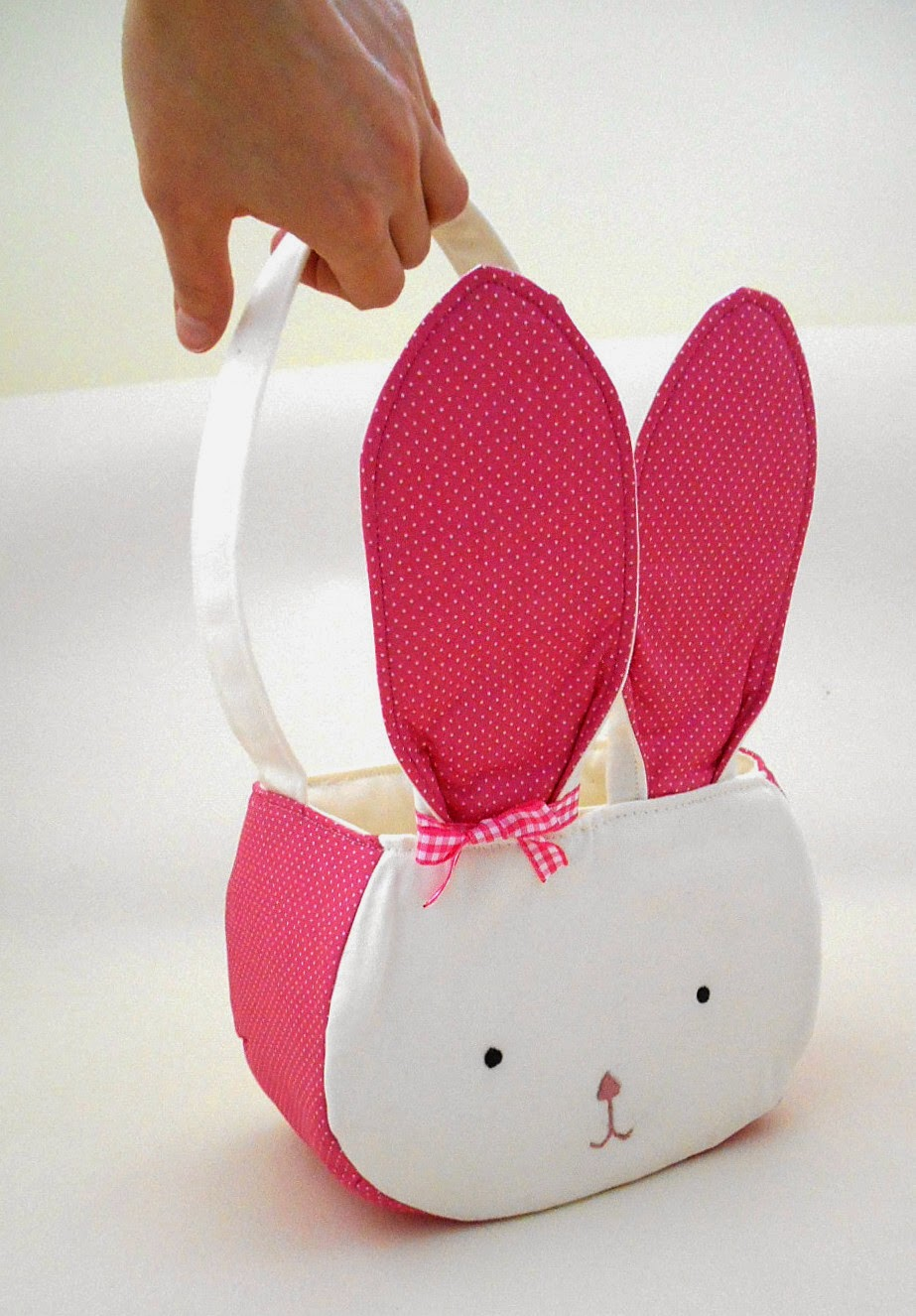baby gift pink and white bunny face storage caddy with big ears