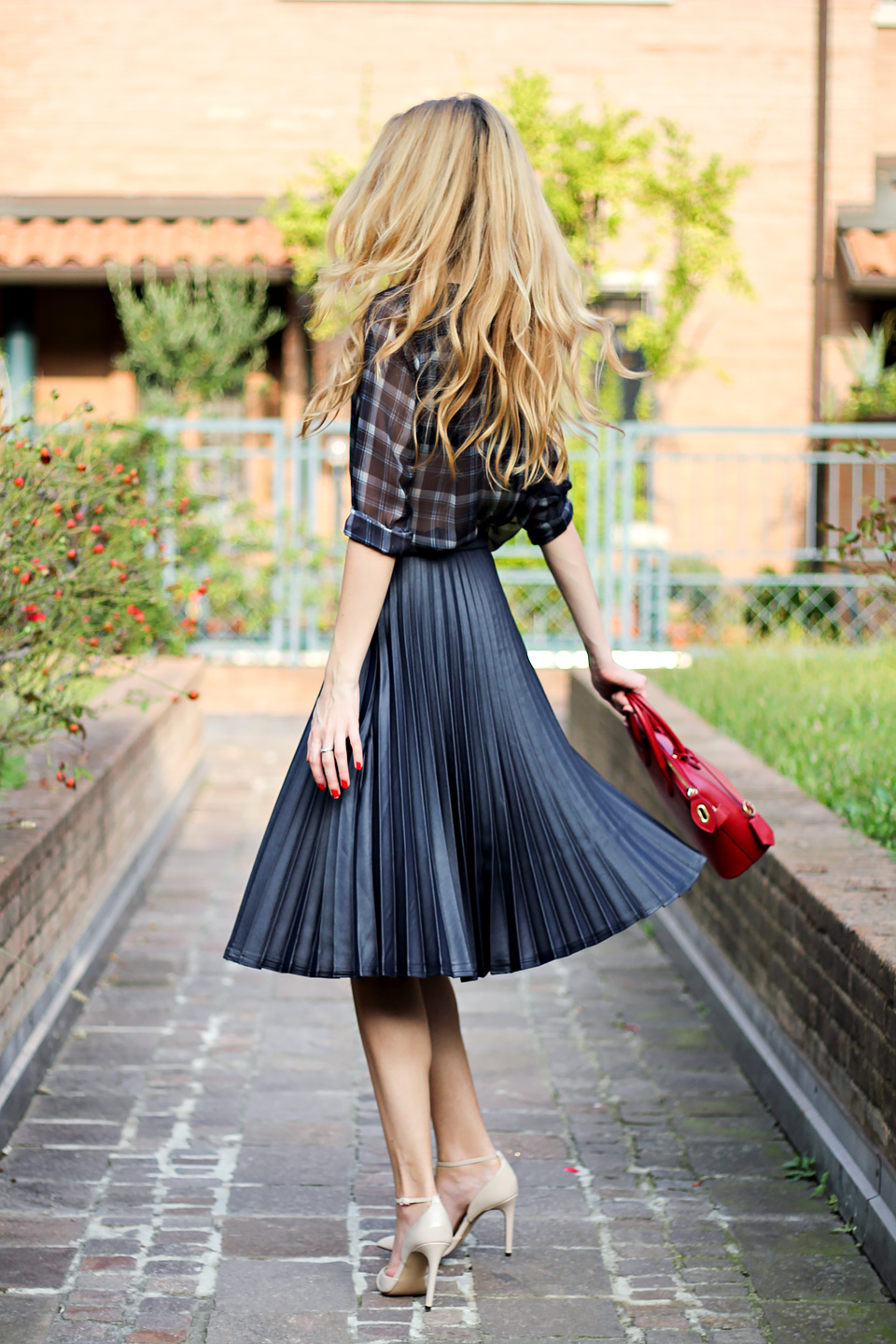 pleated midi skirt, red mini bag, tartan blouse, fall outfit
