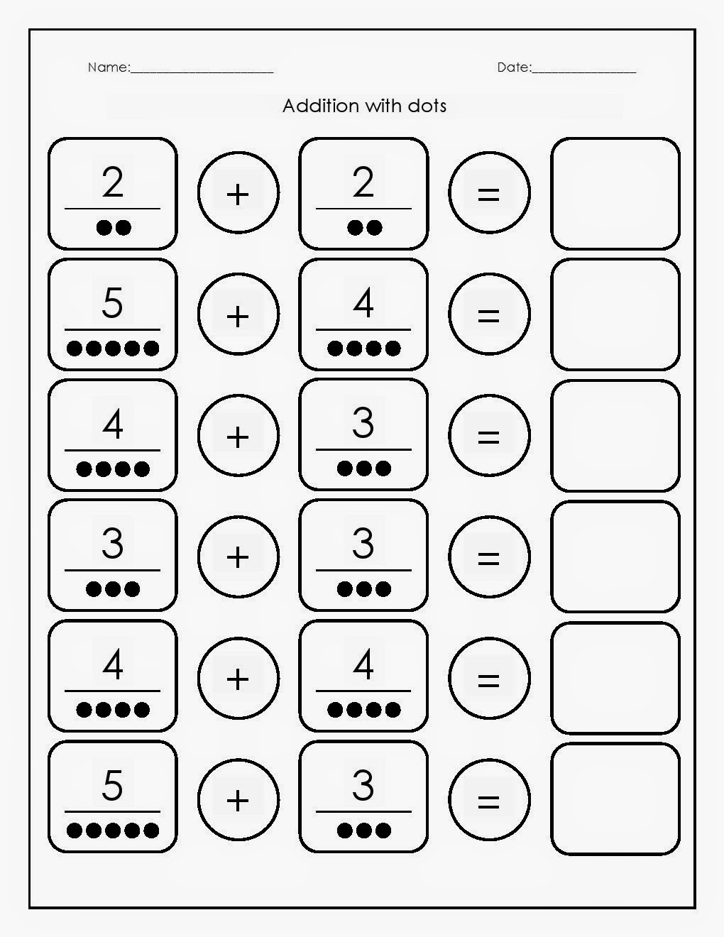 Kindergarten Worksheets: Maths Worksheets - Addition with dots ...