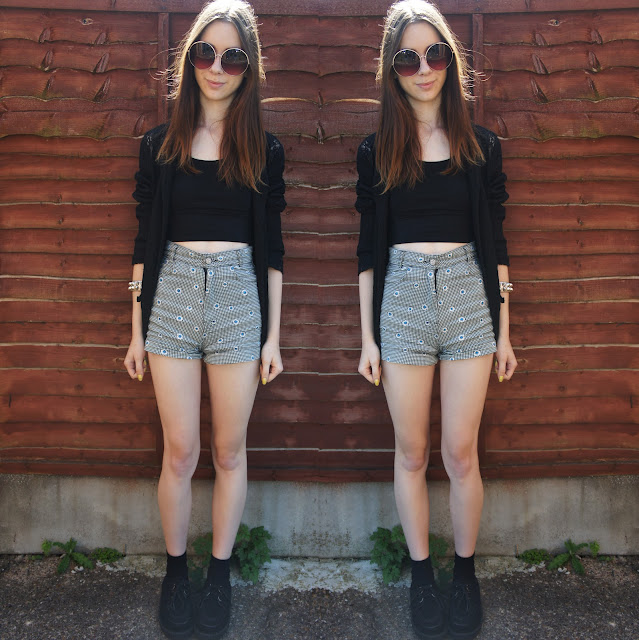 high waisted shorts with a crop top