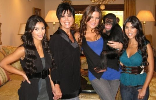 kim kardashian with her pet chimpanzee chimp suzy and family
