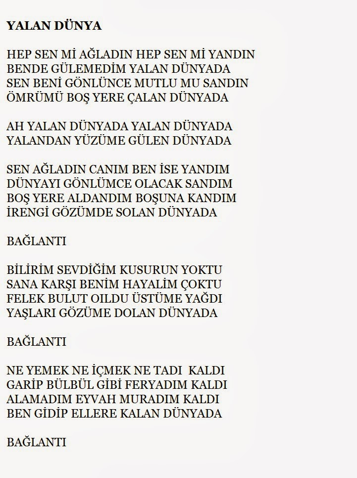 AH YALAN DÜNYA, türkü sözleri, türküler