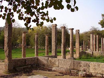 Eastern stoa of gymnasium at Olympia revealed