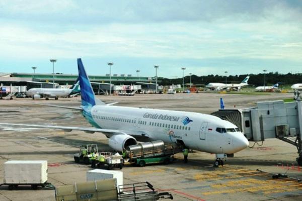 Pesawat Garuda Indonesia di Bandara Haneda Tokyo