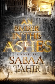 Cover of An Ember In the Ashes, featuring the title emblazoned against a dark cliff with a cathedral-like building atop it.