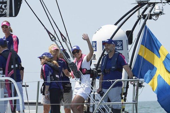 Crown Princess Victoria of Sweden on board the SCA the second day of her visit to the Volvo Ocean Race