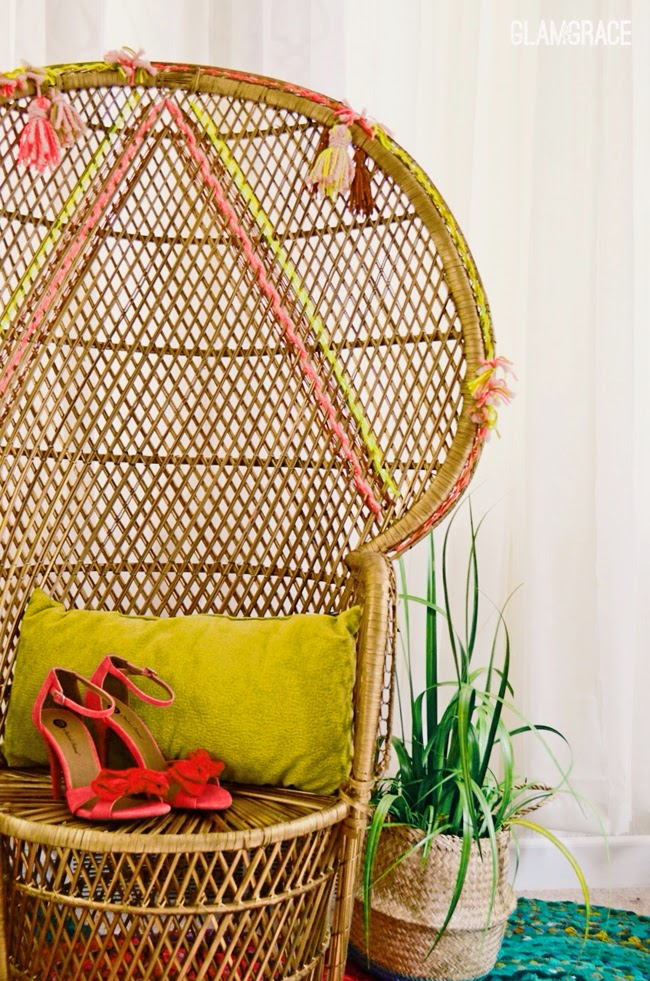 Vintage Rattan Chair makeover - geometric & tassels