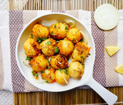 tandoori aloo,aloo tikka,baby potatoes,spiced potatoes,masala aloo