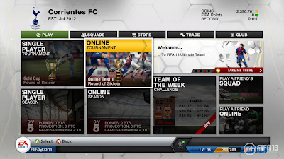 FIFA 13 Ultimate Team Main Page - FUT 13 Menu Screen