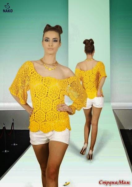 Blusa crochet con hexágonos centro de flor