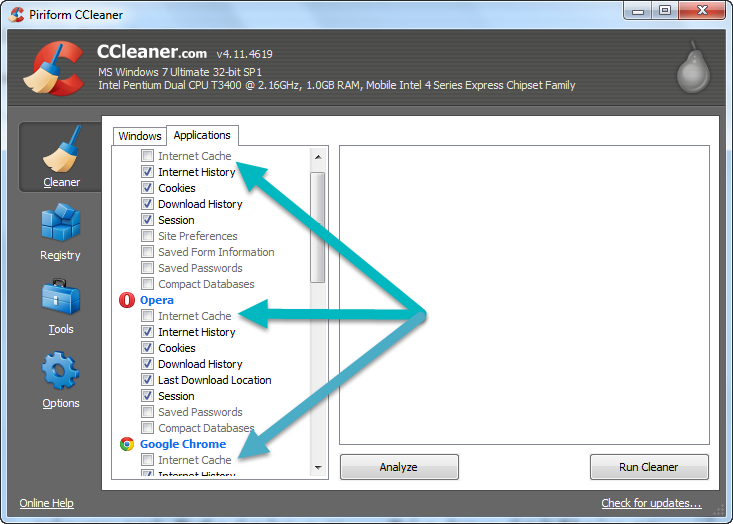 Browser Cache on ccleaner