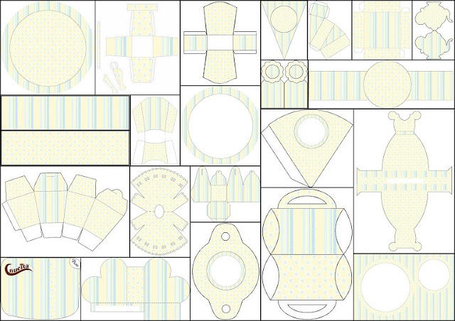 Free Printable Kit with Stars and Stripes in Light Blue and Yellow.