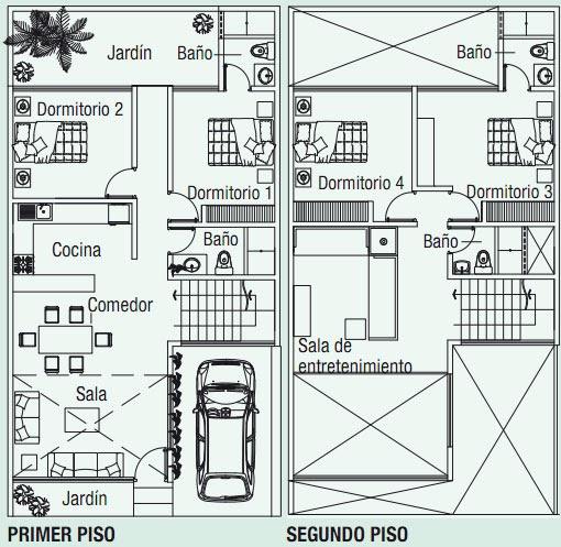 Planos de casa en 120m2 con doble altura planos de casas for Casas modernas 120 metros cuadrados