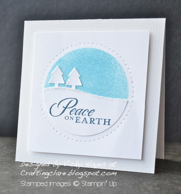 masking and sponging a Christmas card using Calm Christmas from Stampin Up