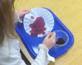 using pipettes and liquid watercolor on coffee filters (Brick by Brick)