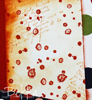 French Foliage decorated panel on Scrapbook Page