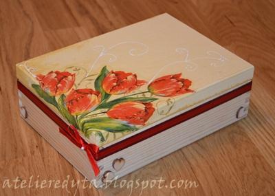 Herbaciarka decoupage, pudełko decoupage w tulipany