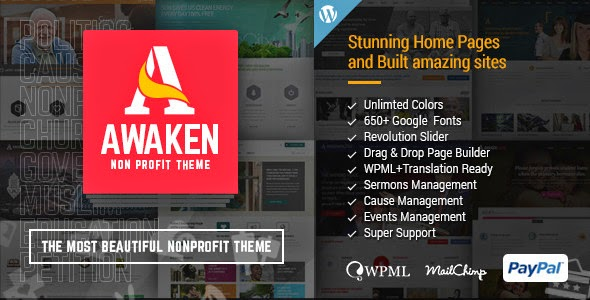 Jual Template Wordpress Awaken - Charity / Nonprofit / Fundraising Theme