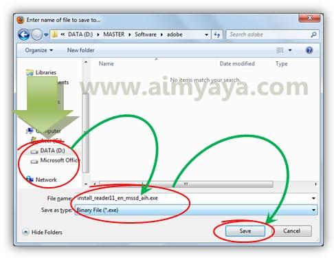 Gambar: Menyimpan file installer untuk adobe reader