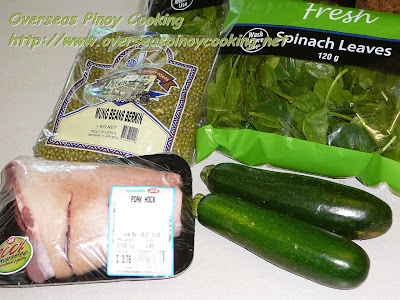 Ginisang Mungo with Pork Pata and Zucchini - Ingredients