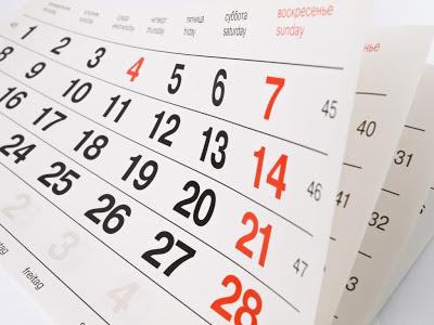 Calendário com datas especiais e dias comemorativos