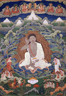 Bhutanese painted thanka of Milarepa (1052-1135), Late 19th early 20th Century, Dhodeydrag Gonpa, Thimphu, Bhutan