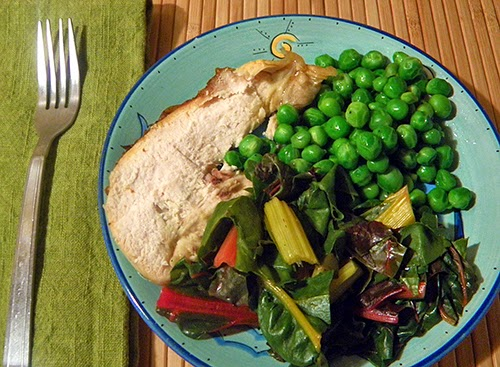 Spring Chicken, Young Chard, and Spring Peas with Mint