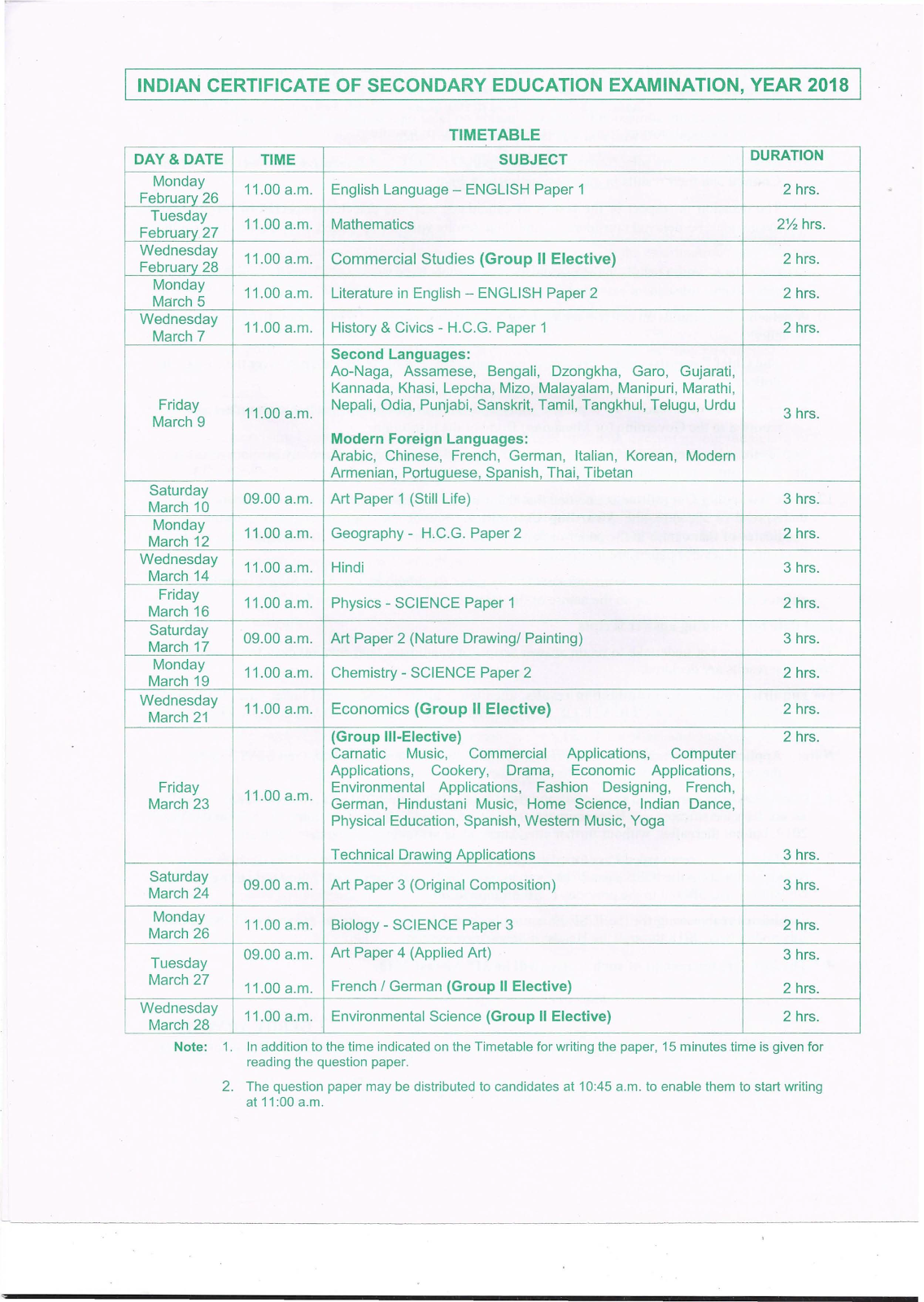 ICSE 2018 Time Table