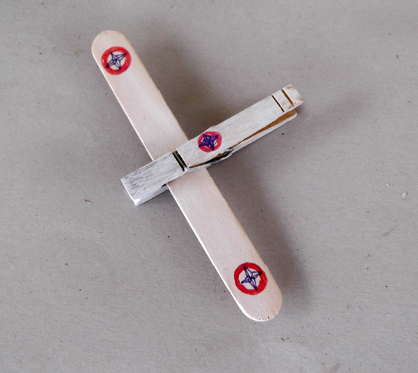 airplane, toy, wood stick, clothspin,