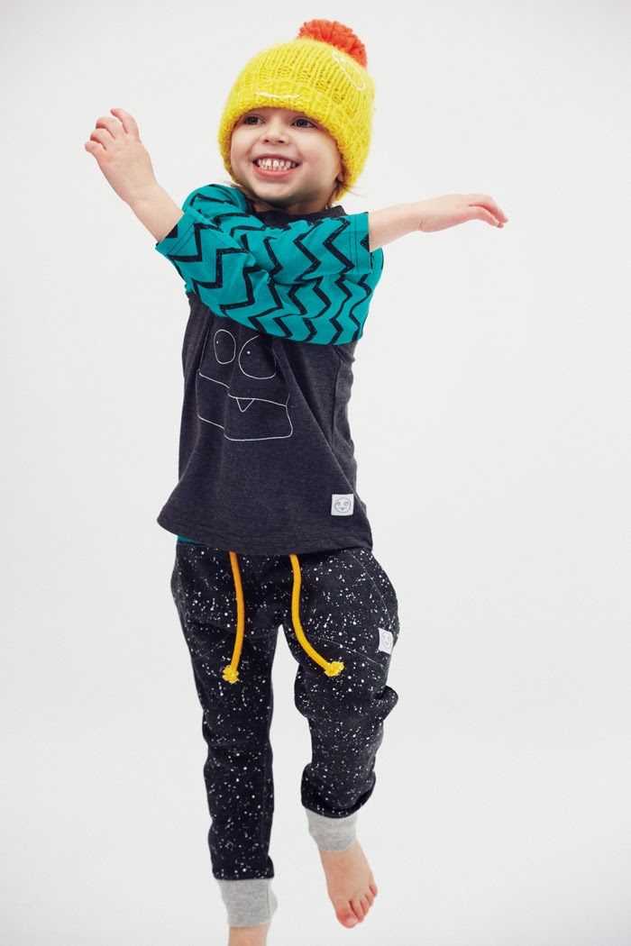 funny face tee and splatter pants by Indikidual - organic kids fashion